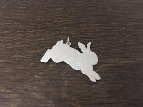 Bunny rabbit charm jumping  solid sterling silver Handmade in the Uk